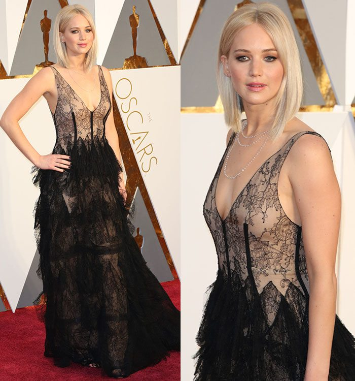 Jennifer-Lawrence-plunging-black-lace-gown-Oscars-2016